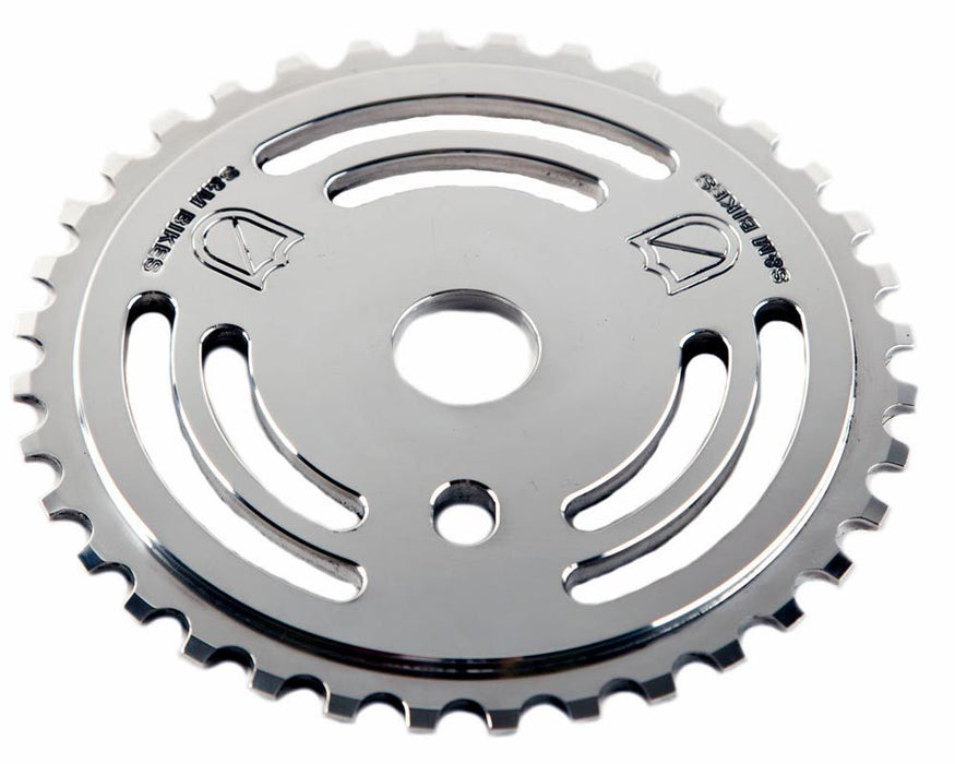 S&M Drain Man Sprocket in Polished at Albe's BMX Bike Shop