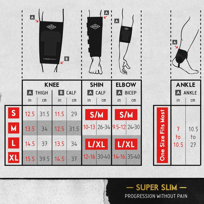 Shadow Shinner Shin Guards size chart