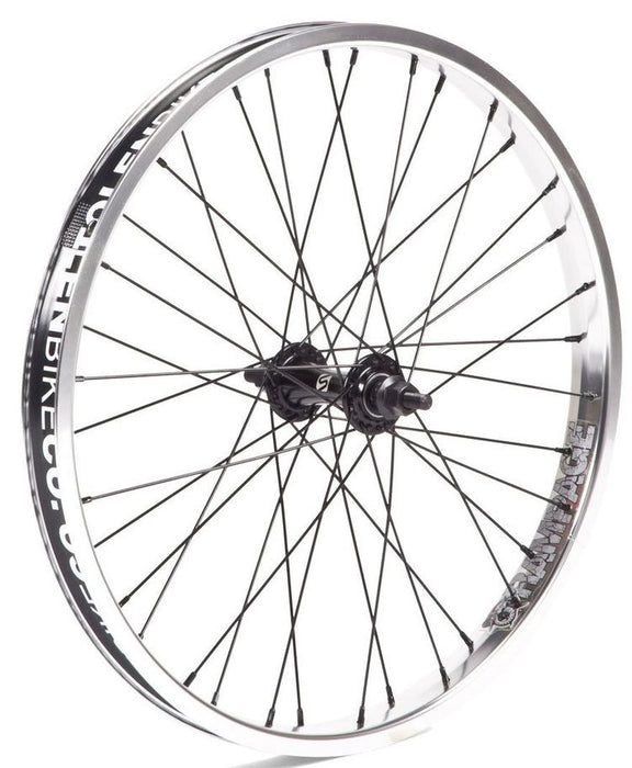Stolen Rampage Front wheel in polished at Albe's BMX Bike Shop