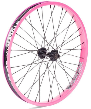 Stolen Rampage front wheel female in cotton candy pink at Albe's BMX