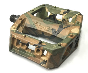 Fiction Mythos BMX pedals in Camo at Albe's BMX Bike Shop