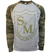 S&M Big Shield Crew Neck Sweatshirt Camo/Grey / Small