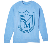 S&M Big Shield Crew Neck Sweatshirt Pacific Heather / Small