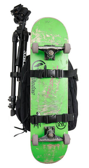 Shadow X Greenfilms Backpack skateboard and tripod straps at Albe's BMX