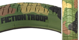 Fiction Troop BMX Tire in Camo print at Albe's BMX