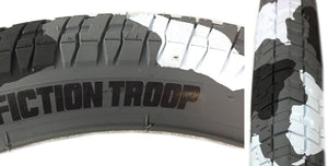 Fiction Troop BMX Tire in Snow Camo print at Albe's BMX