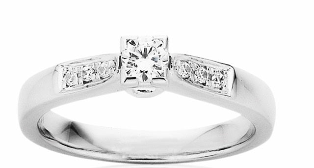 9ct White Gold Diamond Ring - Karlen Designs
