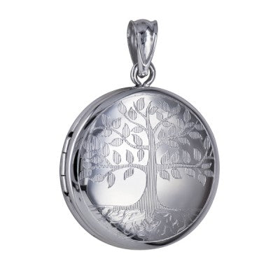 Sterling Silver 20mm Round 'Tree of Life' Locket & Chain - Karlen Designs