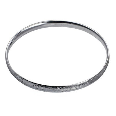 Sterling Silver 5.5mm Engraved Solid Comfort Fit Golf Bangle - Karlen Designs