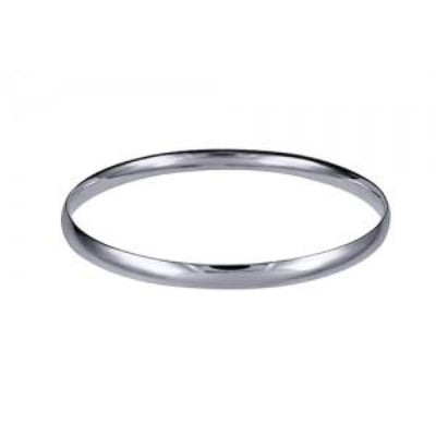 Sterling Silver 5.5mm Plain Solid Comfort Fit Golf Bangle - Karlen Designs