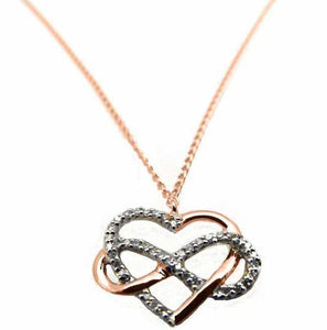 9ct Rose Gold Infinity Heart with Diamonds - Karlen Designs