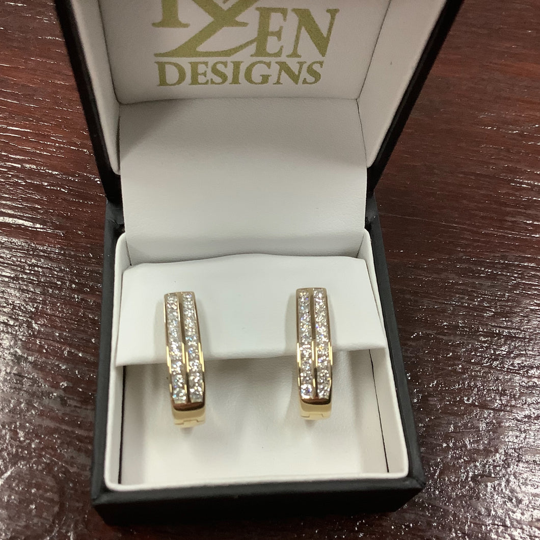 9ct gold 1 carat Diamond Huggie Earrings - Karlen Designs