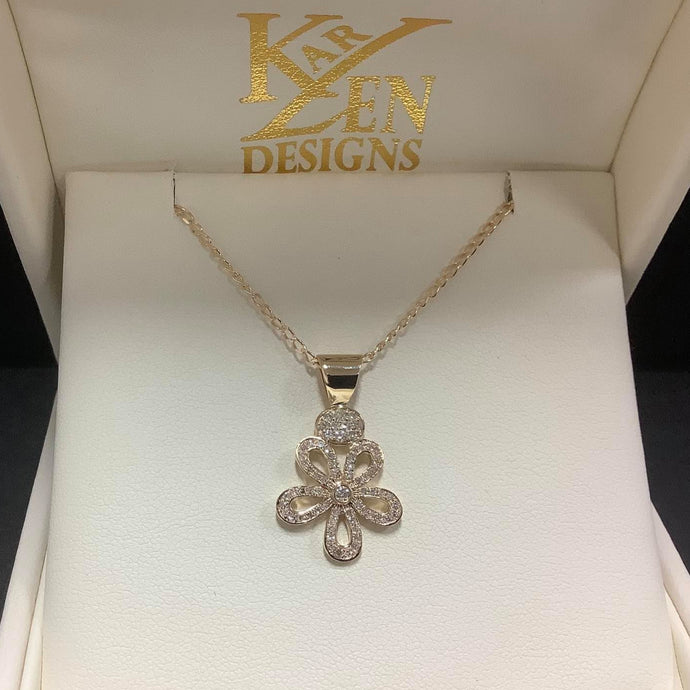 9ct gold Diamond Flower Pendant - Karlen Designs
