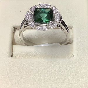 14ct White gold Green Tourmaline and Diamond Ring - Karlen Designs