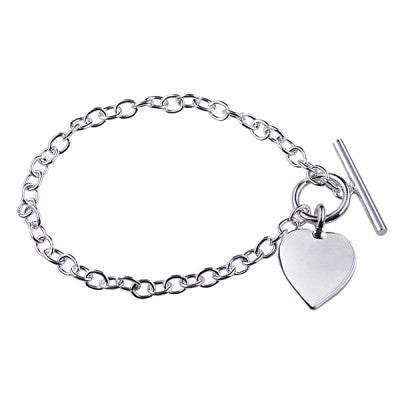 Sterling Silver Oval Cable Bracelet with T-Bar and Heart - Karlen Designs