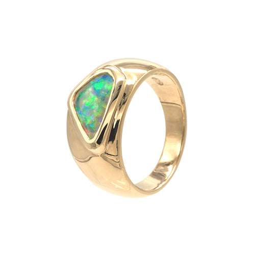 9ct Ring with Free form Coober Pedy Opal - Karlen Designs