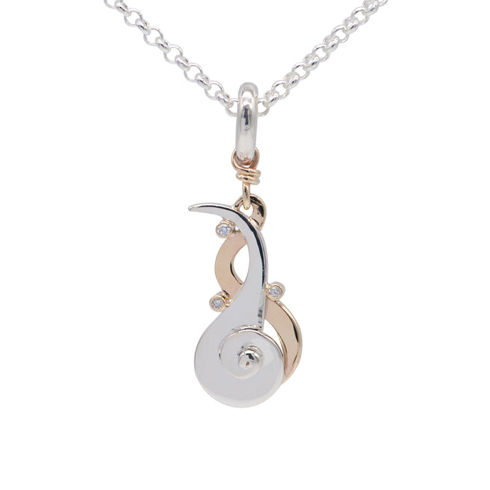 9ct Gold and Silver Diamond Pendant & Chain - Karlen Designs