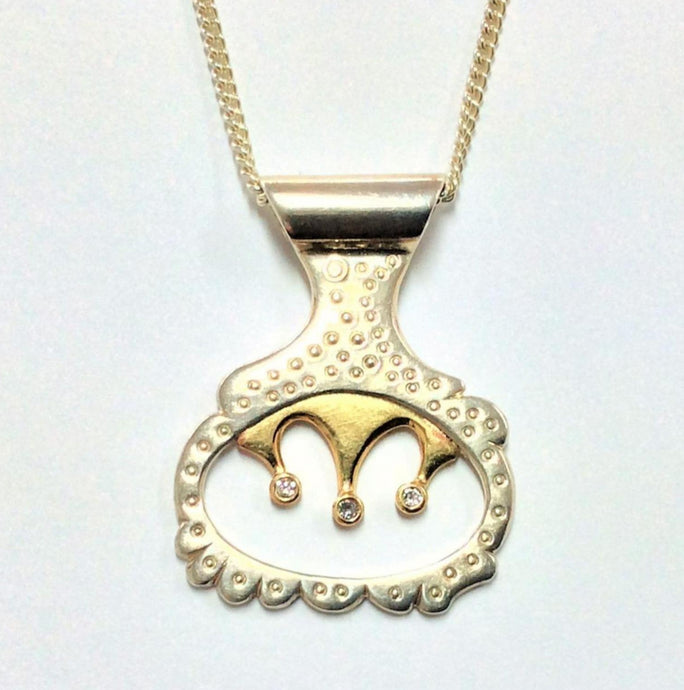 Silver and 9ct gold Diamond set Pendant - Karlen Designs