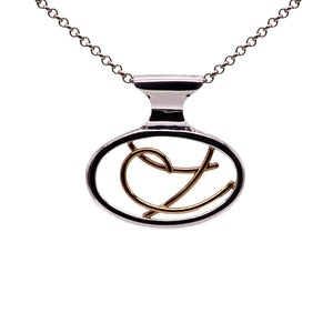 9ct & Sterling Silver Open Design Pendant - special order - Karlen Designs