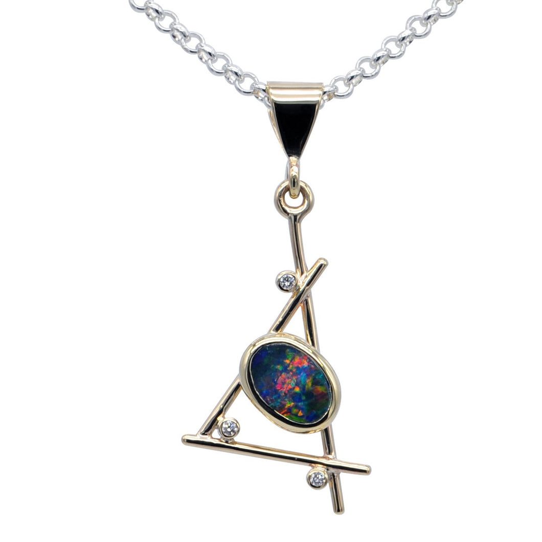 9ct Pendant with Opal doublet and Diamonds - Karlen Designs