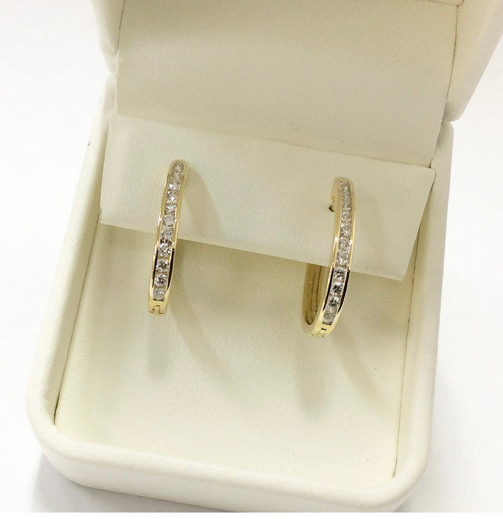 9ct 0.50ct Diamond Huggie Earrings - Karlen Designs