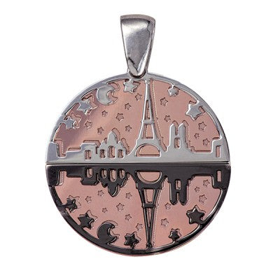Sterling Silver Day & Night Eiffel Tower Pendant - Karlen Designs