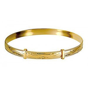 9ct Gold Ladies Engraved Expanding Bangle - Karlen Designs