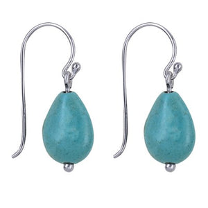 Silver Turquoise Drop Earrings - Karlen Designs