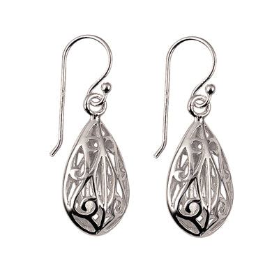 Silver Filigree Teardrop Earrings - Karlen Designs