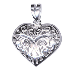 Silver Filigree Heart and Chain - Karlen Designs