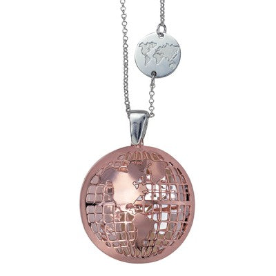 Silver & Pink gold-plated Italian Reversible Cut Out World Pendant - Karlen Designs