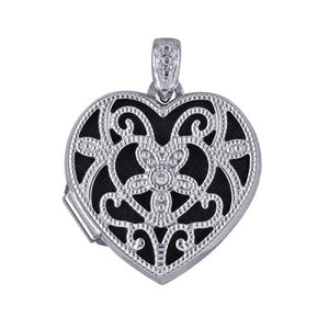 Silver Diamond Set Filigree Heart Locket - Karlen Designs