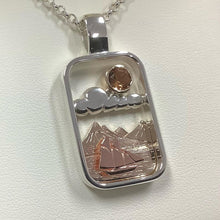 9ct & Silver Landscape Pendant with Sherry Topaz - Karlen Designs