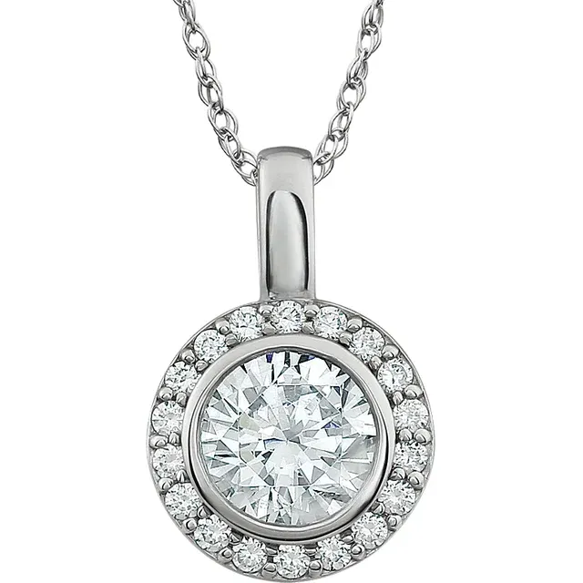 SILVER CUBIC ZIRCONIA HALO STYLE PENDANT AND CHAIN - Karlen Designs