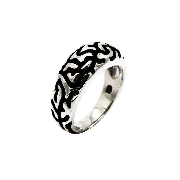 Sterling Silver Black Inlay Ring - Karlen Designs