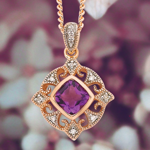 9ct rose gold amethyst and diamond pendant - Karlen Designs