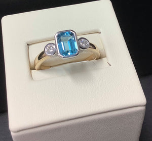 9ct Gold emerald cut Blue Topaz and Diamond Ring - Karlen Designs