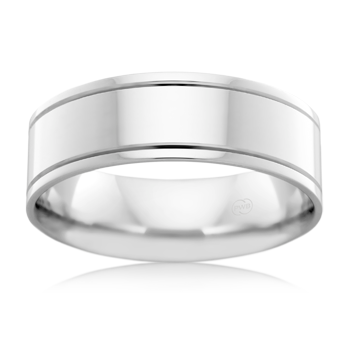 Sterling Silver 5mm line edge Wedding Ring - Karlen Designs