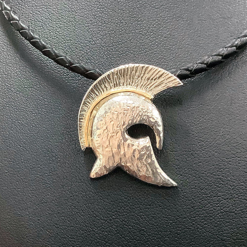 9ct & Sterling Silver Helmet Design Pendant - Karlen Designs