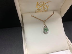 9ct gold Green Tourmaline Pendant - Karlen Designs