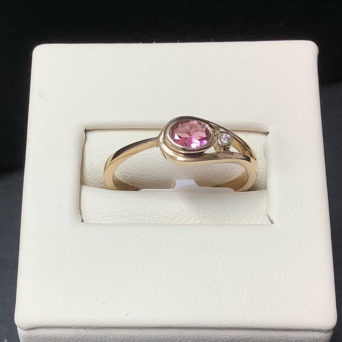 9ct Gold Pink Tourmaline and Diamond Ring - Karlen Designs