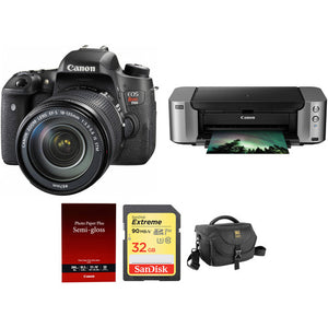 Canon EOS Rebel T6s DSLR Camera with 18-135mm Lens and PIXMA PRO-100 Printer Kit