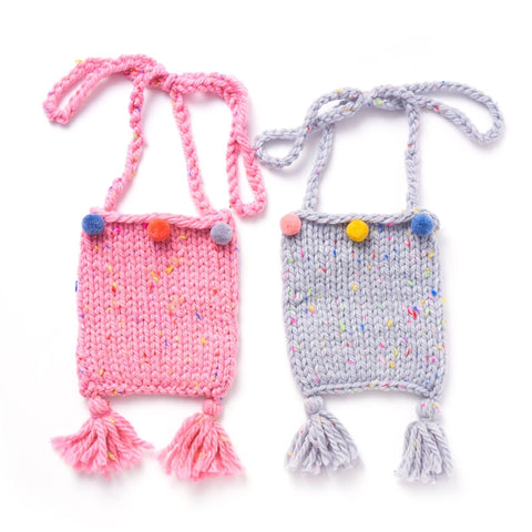 RARE RABBIT MINI Bag knitted tassel and pompom pink