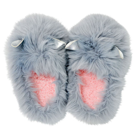 SLIPPER GLAM CRITTER GREY SML