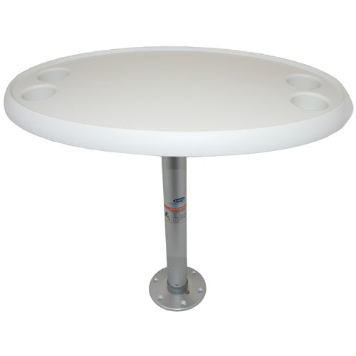 Oval Boat Table with Fixed Pedestal