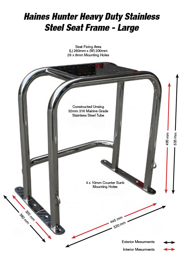 Large Stainless Steel Seat Frame - Haines Hunter
