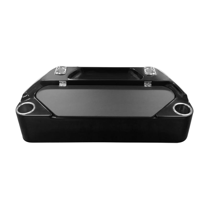 Black Fiberglass Bait Board - Elite with 2 Rod Holders, 2 Cup Holders and Bait Storage