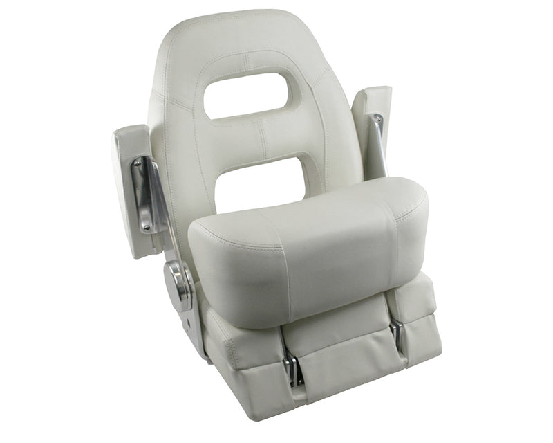 Flip Up Helm Master Boat Seat - White