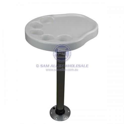 Boat Table - Marine Palm Shape Table Top with Pedestal Post and Base