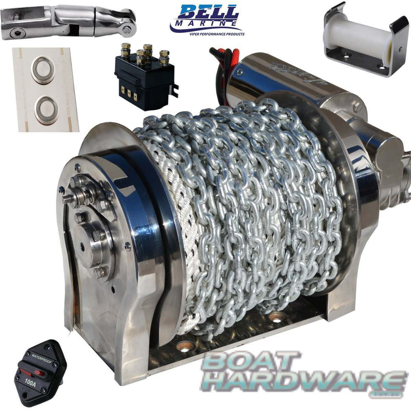 "Viper ""S"" Series Gravity Feed 1000W All Stainless Winch Bundle 98m Rope & Chain Kit"